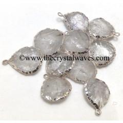 Crystal Quartz Handknapped Heart Silver Electroplated Pendant