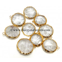 Crystal Quartz Handknapped Round Disc Gold Electroplated Pendant