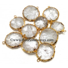 Crystal Quartz Handknapped Round Disc Gold Electroplated Connector Pendant
