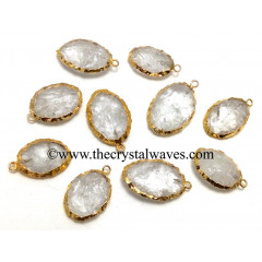 Crystal Quartz Small Oval Gold Electroplated Pendant
