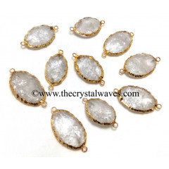 Crystal Quartz Small Oval Gold Electroplated Connector Pendant