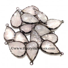 Rose Quartz Handknapped Long Pear Black Rhodium Electroplated Pendant
