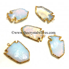 Opalite Broad Arrowhead Shape Gold Electroplated Pendant