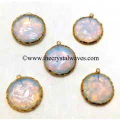 Opalite Handknapped Big Disc Shape Gold Electroplated Pendant