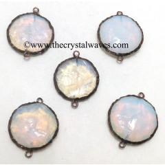 Opalite Handknapped Disc Shape Black Rhodium Electroplated Connector Pendant
