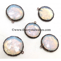 Opalite Handknapped Big Disc Shape Black Rhodium Electroplated Pendant