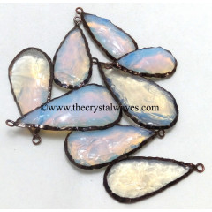 Opalite Handknapped Long Pear Black Rhodium Electroplated Pendant