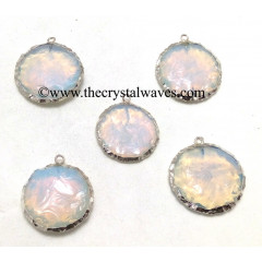 Opalite Handknapped Big Disc Shape Silver Electroplated Pendant