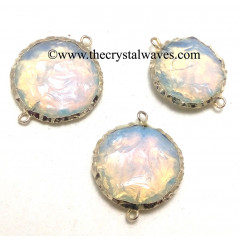 Opalite Handknapped Big Disc Shape Silver Electroplated Connector Pendant