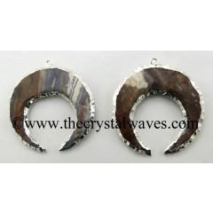 Fancy Jasper Moon Shape Silver Electroplatd Pendant