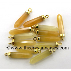 Yellow Aventurine Small Bullet Pencil Shape Gold Electroplated Pendant