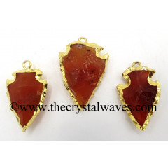 "Carnelian 1 - 1.50 "" Gold Electroplated Arrowhead Pendants"