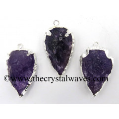 "Amethyst 1 - 1.50 "" Gold Electroplated Arrowhead Pendants"