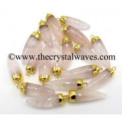 Rose Quartz Small Horn Shape Gold Capped Electroplated Pendant