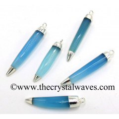 Blue Chalcedony Horn Shape Dual Side Silver Capped Electroplated Pendant