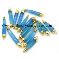 Blue Chalcedony Horn Shape Dual Side Gold Capped Electroplated Pendant