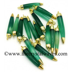 Green Chalcedony Horn Shape Dual Side Gold Capped Electroplated Pendant