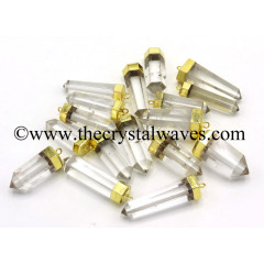 Crystal Quartz 1.50 - 2 Inch Gold Capped Electroplated Pencil Pendant