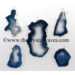 Blue Banded Agate Chalcedony Geode Freeform Silver Electroplated Pendant