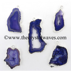 Purple Banded Agate Chalcedony Geode Freeform Silver Electroplated Pendant