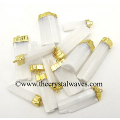 Selenite Raw Chunks Gold Capped Electroplated Pendants