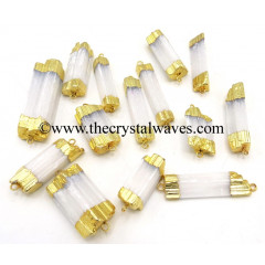 Selenite Raw Chunks Double Drill Gold Capped Electroplated Pendants Or Connectors