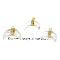 Crystal Glass Manmade Small Crecent Moon Gold Electroplated Pendant
