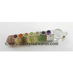 Fluorite 2 Pc Pencil Chakra Pendant