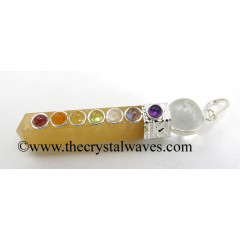 Yellow Aventurine 2 Pc Pencil Chakra Pendant