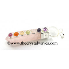 Rose Quartz 2 Pc Pencil Chakra Pendant