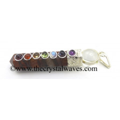 Red Tiger Eye Agate 2 Pc Pencil Chakra Pendant