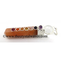 Peach Moonstone 2 Pc Pencil Chakra Pendant