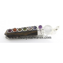 Yellow Tiger Eye Agate 2 Pc Pencil Chakra Pendant