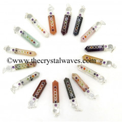 Mix Assorted Gemstone 2 Pc Pencil Chakra Pendant