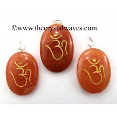 Red Aventurine Om Engraved Oval Pendant