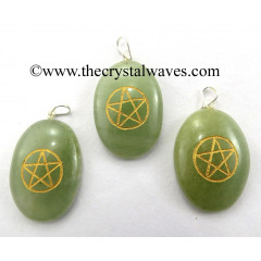 Green Aventurine Pentacle Engraved Oval Pendant