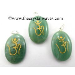 Green Aventurine Om Engraved Oval Pendant