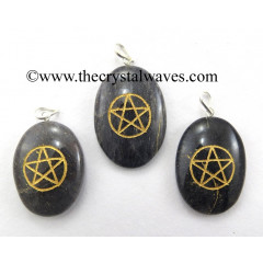 Blue Aventurine Pentacle Engraved Oval Pendant