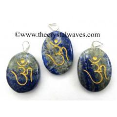 Lapis Lazuli Om Engraved Oval Pendant