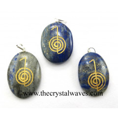 Lapis Lazuli Cho Ku Rei Engraved Oval Pendant
