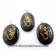 Black Agate Om Engraved Oval Pendant