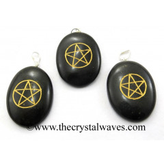Black Agate Pentacle Engraved Oval Pendant
