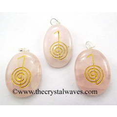 Rose Quartz Cho Ku Rei Engraved Oval Pendant