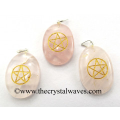 Rose Quartz Pentacle Engraved Oval Pendant