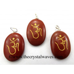 Red Jasper Om Engraved Oval Pendant