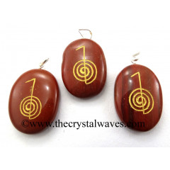 Red Jasper Cho Ku Rei Engraved Oval Pendant