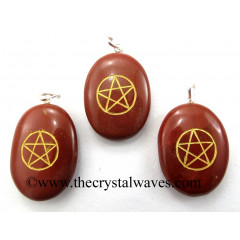 Red Jasper Pentacle Engraved Oval Pendant