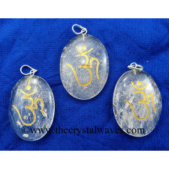 Crystal Quartz Om Engraved Oval Pendant