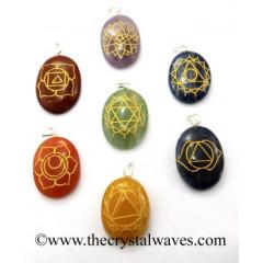 Chakra Symbols Engraved Oval Pendant Set