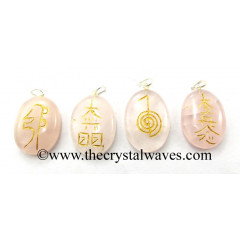 Rose Quartz Usui Reiki  Engraved Oval Pendant Set